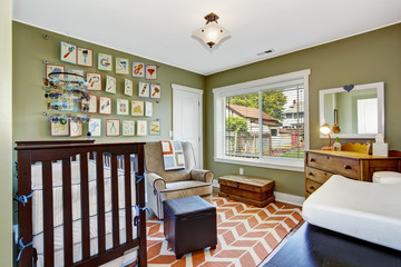 Nursery room in light green