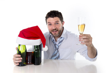 xmas champagne toast of happy drunk businessman