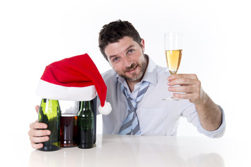 drunk businessman celebrating xmas champagne toast