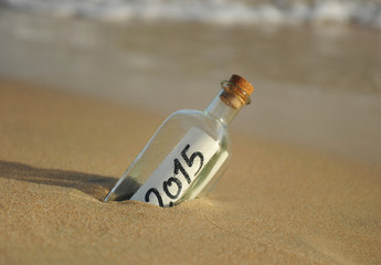 2015, bottle with a message