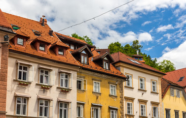 Buildings in historic centre of Ljubljana, Slovenia