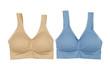 Beige and blue cotton bra. - 67756723