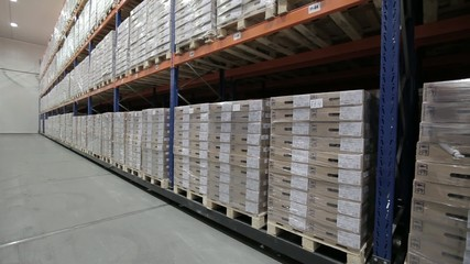 Logistic warehouse. Products on the shelves