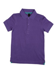 Purple polo shirt.