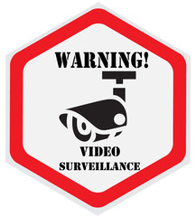 Video surveillance sign, hexagon