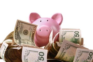 piggy bank standing on dollars