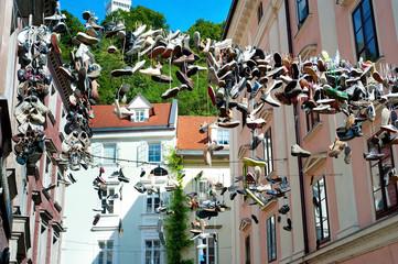 Hanging shoes, Ljubljana