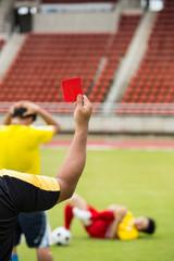 Football Referee warning and recorded