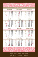 pink pocket calendar 2015, with USA holidays