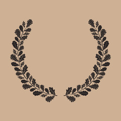 Silhouette of laurel wreath, oak leaf, vector illustration