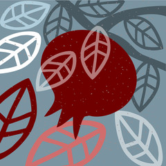 Pomegranate on Branch Abstract  Illustration