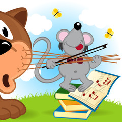 mouse violinist - vector  illustration, eps