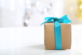 Gift box with Teal bow - 67759546