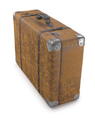 Old Suitcase Over White