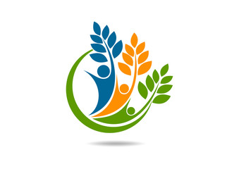 natural health human wellness logo body mental healthy