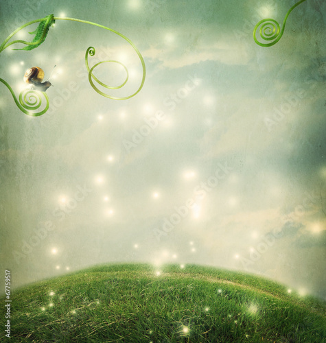 Fotobehang Heuvel Fantasy landscape with small snail