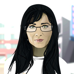 Dark hair girl with glasses