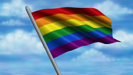 Looping Rainbow Flag animation with sky background