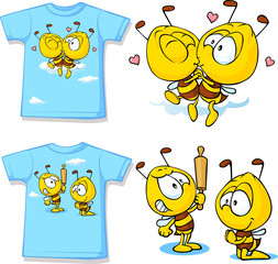 kid shirt with cute bees - isolated on white