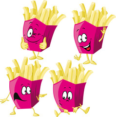 French fries cartoon with hand gesturing isolated