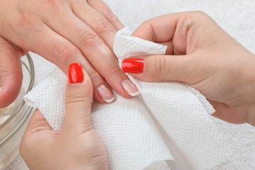 manicure doing in beauty salon