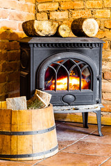 Fireplace with fire flame and firewood in barrel
