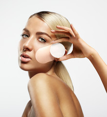 bronzing, tanning, makeup remove concept
