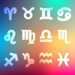 Zodiac Sternzeichen Horoskop Hintergrund Regenbogen
