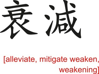 Chinese Sign for alleviate, mitigate weaken, weakening