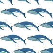 Seamless background pattern of blue whales