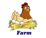 Fototapety Farm emblem with a hen sitting on eggs