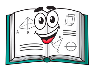 Happy smiling cartoon school textbook