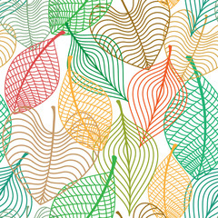 Seamless pattern of colorful leaves