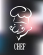 Chef icon on a shiny surface