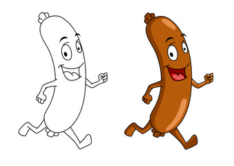 Running cartoon sausage