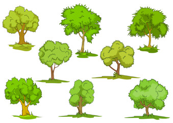 Set of leafy green trees