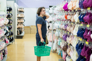 man buying a bra