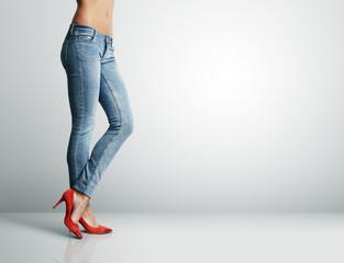 woman's leg in jeans
