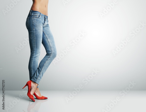 canvas print picture woman's leg in jeans