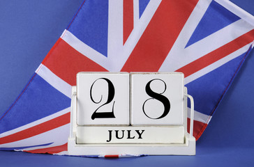 Calendar for 28 July, WWI centenary with UK British flag.