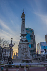 Indianapolis Indiana Monument Circle Sunset