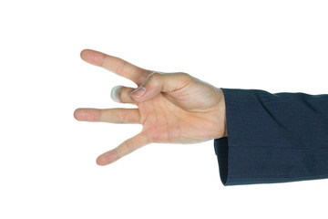 Businessman Catch Middle Finger Isolated on White