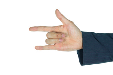 Businessman I Love You Finger Sign Isolated on White