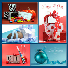 Multi holiday symbols and gifts collage