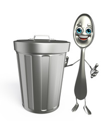 Spoon character with dustbin