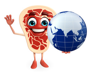 Meat steak character with globe