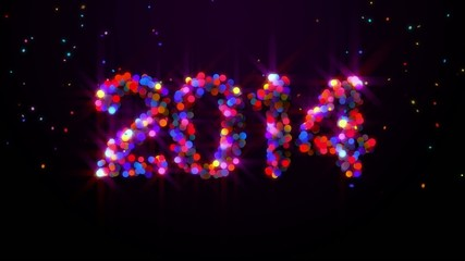 New Year 2014 to 2015 Drop Ball Glowing Loop Animation