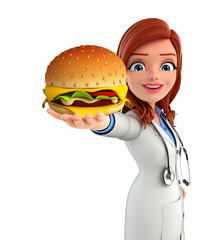 Young Doctor with burger