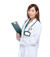 Asian doctor woman with clipboard