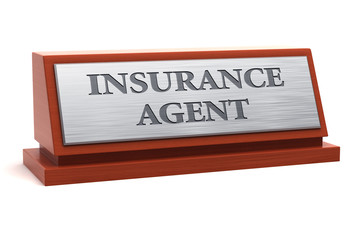 Insurance agent.job title on nameplate